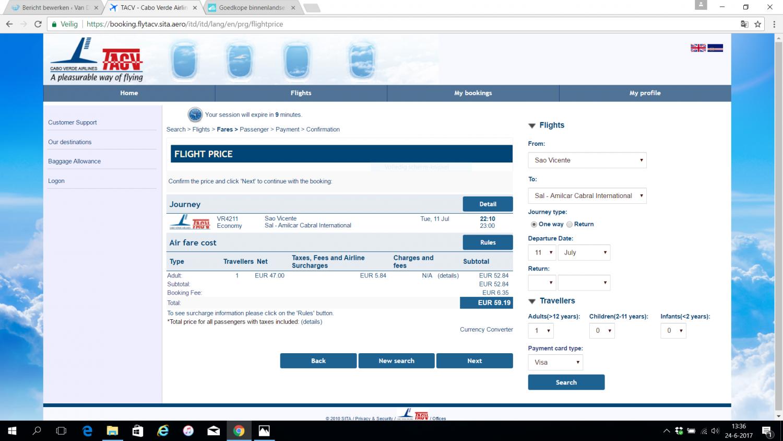 Website van TACV Kaapverdië