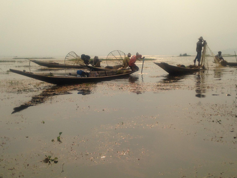 Myanmar Inle Lake vissers