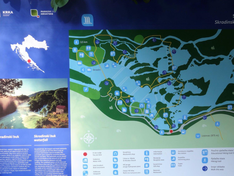 Kroatië wandelkaart Krka waterfall