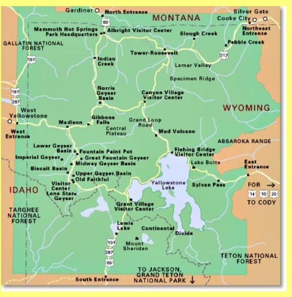 Map ;Yellowstone